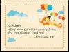 御言葉カード「りとるしーど」 コロサイ3:20 (表裏日英対訳)