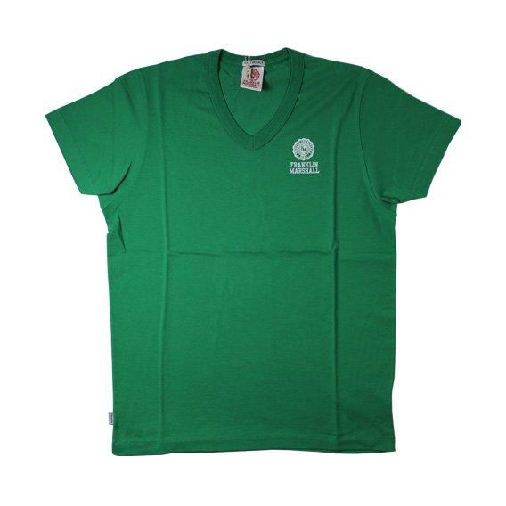 フランクリン&マーシャル:ワンポイントエンブレム VネックTシャツ (グリーン)