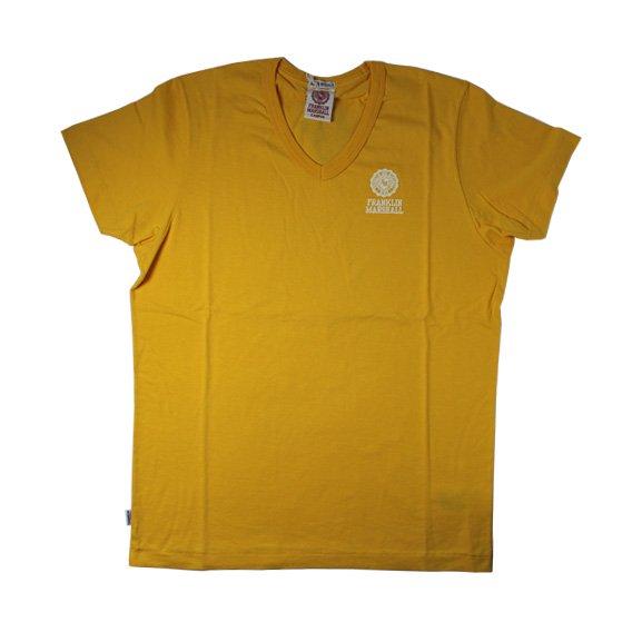 フランクリン&マーシャル:ワンポイントエンブレム VネックTシャツ (イエロー)