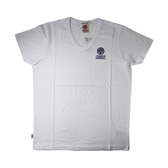 フランクリン&マーシャル:ワンポイントエンブレム VネックTシャツ (ホワイト)