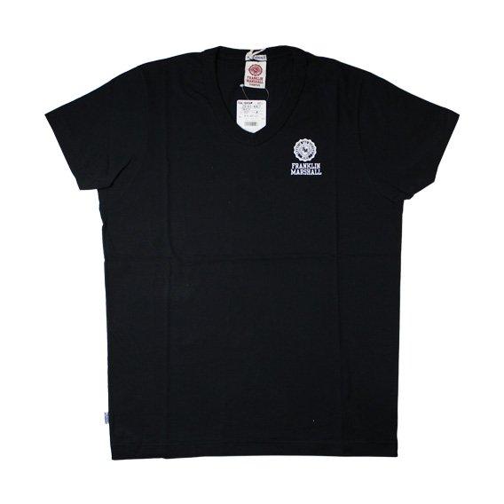 フランクリン&マーシャル:ワンポイントエンブレム VネックTシャツ (ブラック)