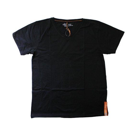 ヌーディージーンズ:ORGANIC COTTON VネックTシャツ(ブラック)