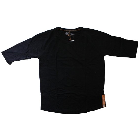 ヌーディージーンズ:NUDIE JEANS ORGANIC COTTON QUARTER SLEEVE TEE(ブラック)