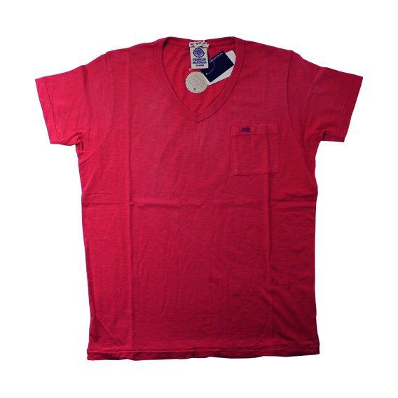 フランクリン&マーシャル:ポケット付き VネックTシャツ (レッド)