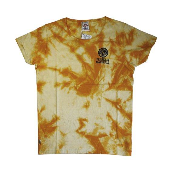 フランクリン&マーシャル:タイダイ染め ロゴプリント Tシャツ (イエロー)