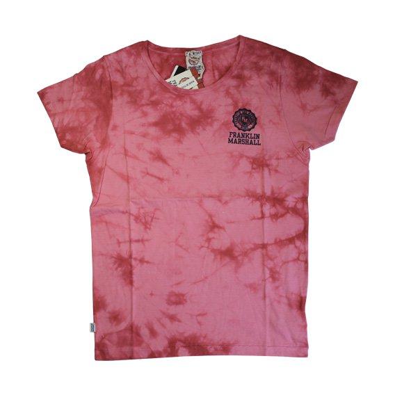 フランクリン&マーシャル:タイダイ染め ロゴプリント Tシャツ (レッド)