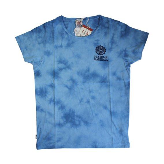 フランクリン&マーシャル:タイダイ染め ロゴプリント Tシャツ (ブルー)