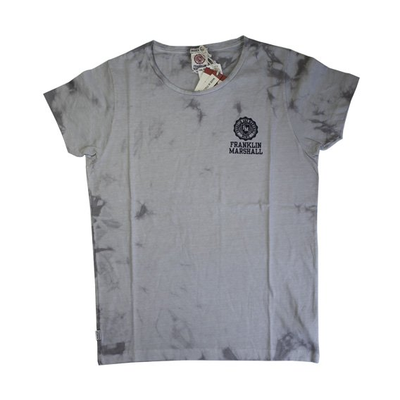 フランクリン&マーシャル:タイダイ染め ロゴプリント Tシャツ (グレー)