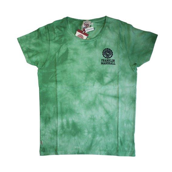フランクリン&マーシャル:タイダイ染め ロゴプリント Tシャツ (グリーン)