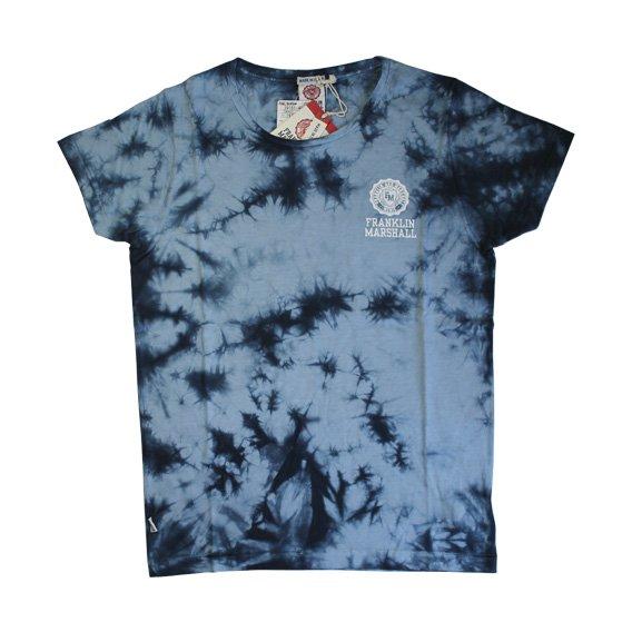 フランクリン&マーシャル:タイダイ染め ロゴプリント Tシャツ (ネイビー)