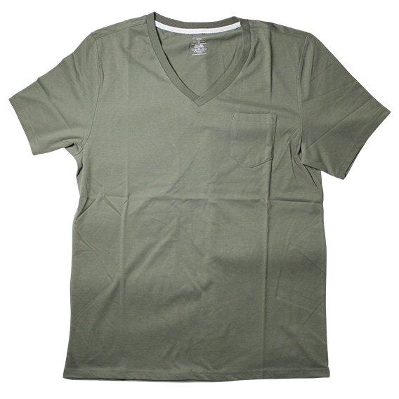 ブレッド&ボクサーズ:SUEDED JERSEY VネックTシャツ(オリーブ)