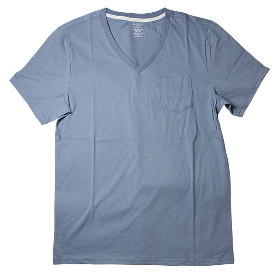 ブレッド&ボクサーズ:SUEDED JERSEY VネックTシャツ(ブルー)