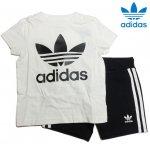 アディダス オリジナルス トレフォイル 半袖Tシャツ&ショーツ ブラックホワイト 上下セット キッズ adidas ED7726