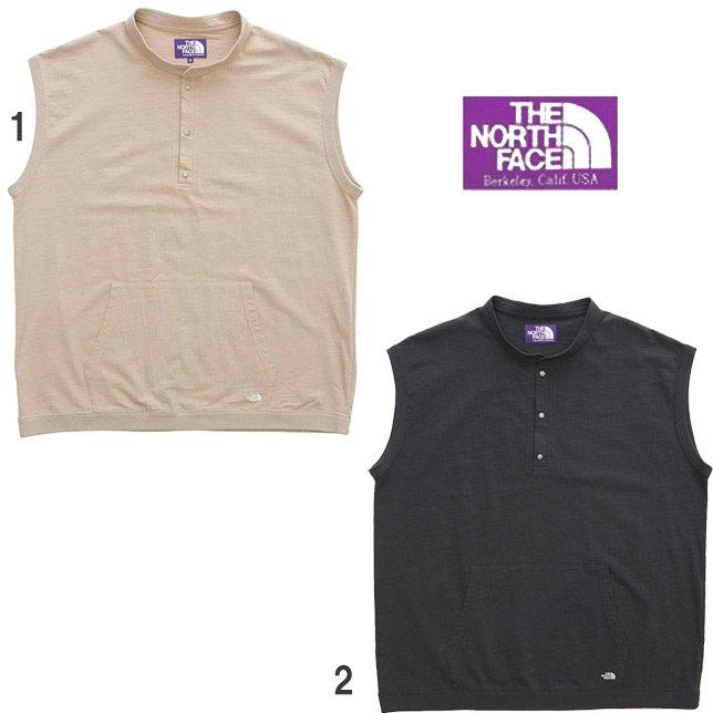 ノースフェイス パープルレーベル ナナミカ High Bulky N/S Tee ノースリーブ ロゴ刺繍 ポケットTシャツ 裾リブ ベスト NT3015N