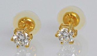 (1291) 【ジュエリー(ノンブランド)】 K18 ダイヤ ピアス 0.20ct 0.19ct 一粒ダイヤ [ノンブランドジュエリー]