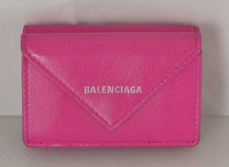 (2902) 【その他】 バレンシアガ BALENCIAGA ペーパーミニウオレット 三つ折り財布 濃ピンク [財布]