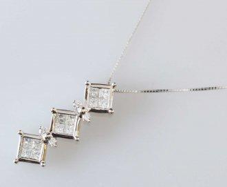 (6192) 【ジュエリー(ノンブランド)】 K18WG ホワイトゴールド ダイヤモンド0.96ct ネックレス ソーティング付 [ノンブランドジュエリー]