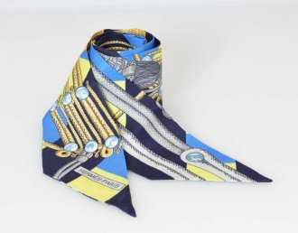 (6549) 【エルメス】 エルメス HERMES ツイリー シルク100 ブランデンブルグ RANDEBOURGS スカーフ [小物]