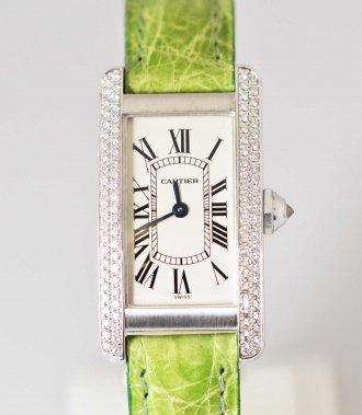 (6753) 【カルティエ】 カルティエ Cartier  750WG ホワイトゴールド ダイヤ タンクアメリカン SМ  [時計(レディース)]