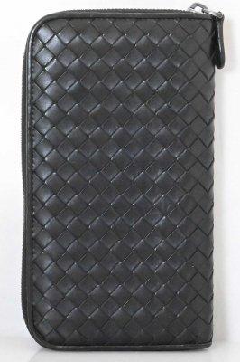(6932) 【ボッテガ】 ボッテガヴェネタ BOTTEGA VENETA イントレチャート ラウンドファスナー  長財布 ブラック レザー [財布]