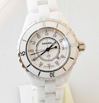 (6953) 【シャネル】 シャネル CHANEL J12 ダイヤ12P H1628 レディース クォーツ ホワイトセラミック [時計(レディース)]