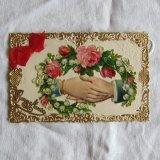 薔薇とすずらん握手レース金彩枠