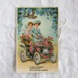 天使と薔薇の車ポストカード