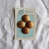 メタルゴールドボタン薔薇25ミリ4個/とんぼ台紙付