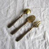 アンティーク前菜カトラリー3本 真鍮とシルバー刻印