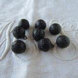 黒の球体ボタン8個12ミリ花模様