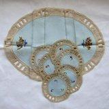 花手刺繍センターテーブルクロスとドイリーセット未使用