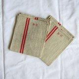 キッチンクロス刺繍2枚イニシャル未使用品リネン