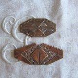 アールデコ装飾パーツ2個2種 赤銅色