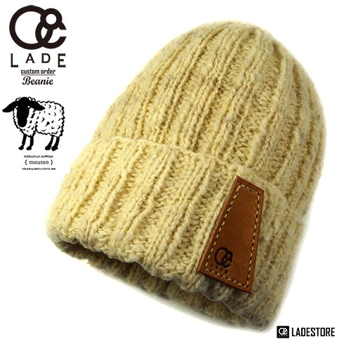 ■LADE Custom Order Beanies■ Hitsujiyan Virgin Wool Cuff / Natural