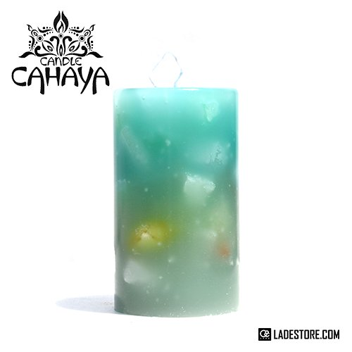 ■candle CAHAYA■ Gradation Medium Candle / Blue Green-Moss Green