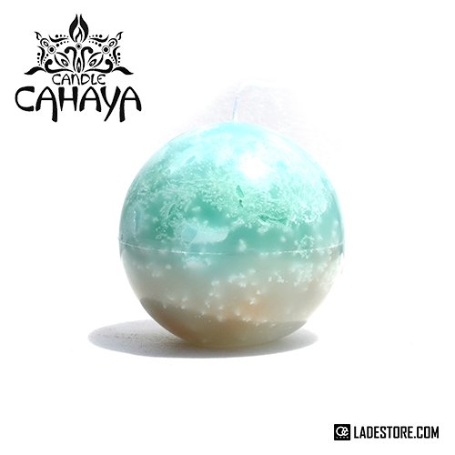 ■candle CAHAYA■ Gradation Manmaru Candle / Pale Green-Beige