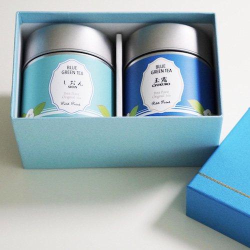 お茶好きの方に贈りたい青い緑茶セット