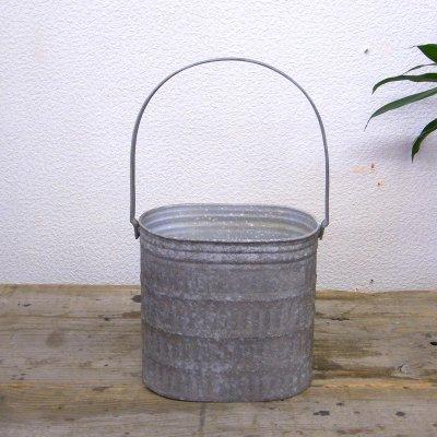 ブロカント ハンドル付きオーバルカン カバン (S) ブリキ鉢 鉢カバー