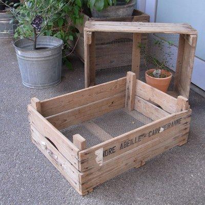 フレンチダリアボックス(底網)  アンティーク木箱