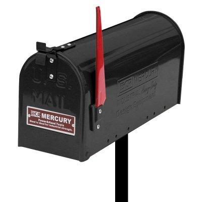 MERCURY USメールボックス ブラック ポールスタンドセット エンボスロゴ プレート付