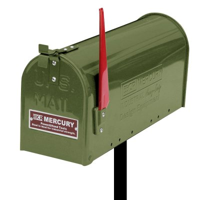 MERCURY USメールボックス オリーブ カーキー ポールスタンドセット  エンボスロゴ プレート付