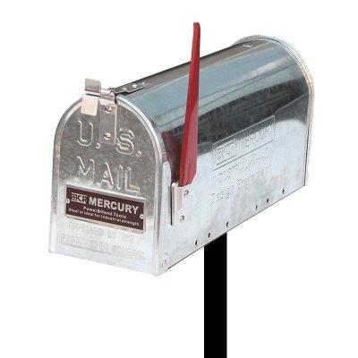 MERCURY USメールボックス ガルバナイズ ポールスタンドセット エンボスロゴ プレート付