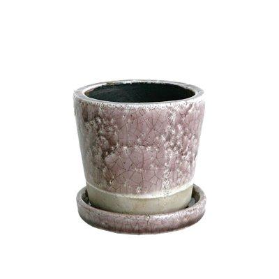 ダルトン Botany カラー グレーズド ポット 植木鉢 3.5号 ライトパープル 受皿付