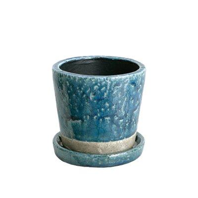 ダルトン Botany カラー グレーズド ポット 植木鉢 3.5号 ミッドナイトブルー 受皿付