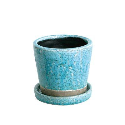 ダルトン Botany カラー グレーズド ポット 植木鉢 3.5号 ターコイズ ブルー 受皿付