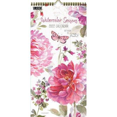2022年LANGラングスリムカレンダー (縦長) Watercolor Seasons ウォーターカラー シーズンズ