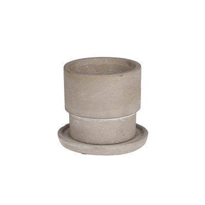 ダルトン セメントポット 2号鉢 受皿付・鉢底あり ラウンドXS 円柱