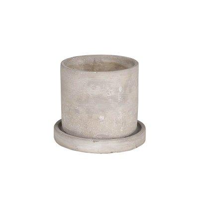 ダルトン セメントポット 2.5号鉢 受皿付・鉢底あり ラウンドS 円柱形