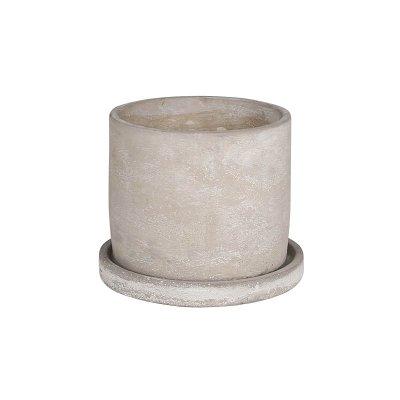 ダルトン セメントポット 3.5号鉢 受皿付・鉢底あり ラウンドM 円柱形