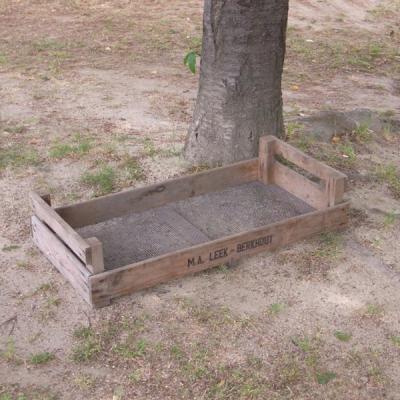 クロッカスボックス アンティーク木箱 トレイ 底網